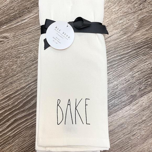 White kitchen towel set Rae Dunn home made bake